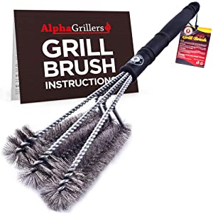 "Alpha Grillers Grill Brush. Best 18"" BBQ Cleaner. Safe For All Grills. Durable & Effective. Stainless Steel Wire Bristles And Stiff Handle. A Perfect Gift For Barbecue Lovers."