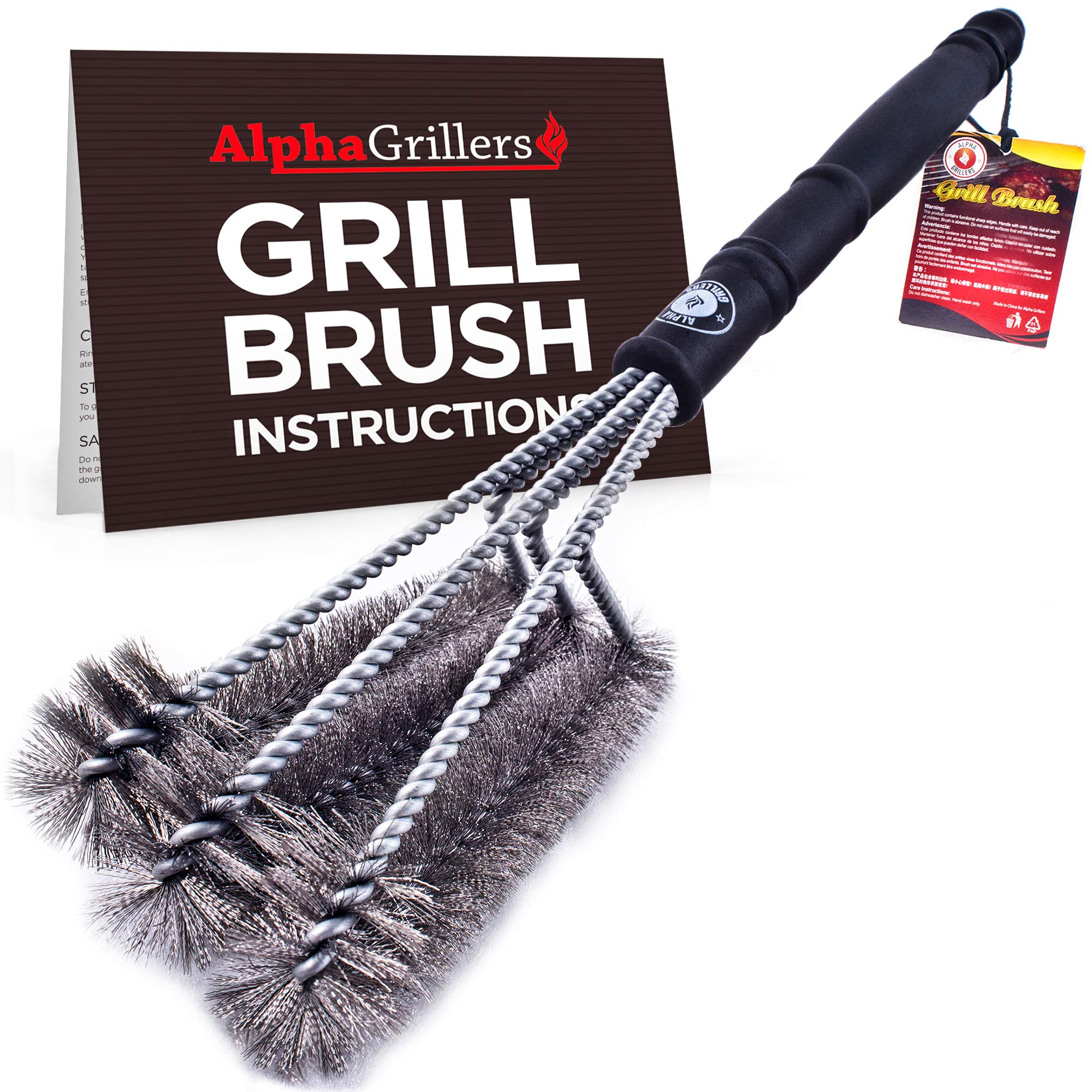 Alpha Grillers Grill Brush. Best 18'' BBQ Cleaner. Safe For All Grills. Durable & Effective. Stainless Steel Wire Bristles And Stiff Handle. A Perfect Gift For Barbecue Lovers.