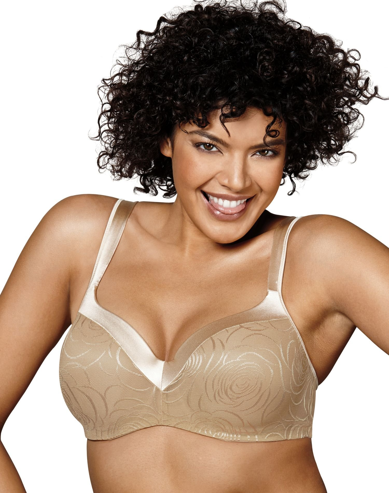Playtex Love My Curves Body Revelation Underwire Bra Nude Rose Jacquard 42B