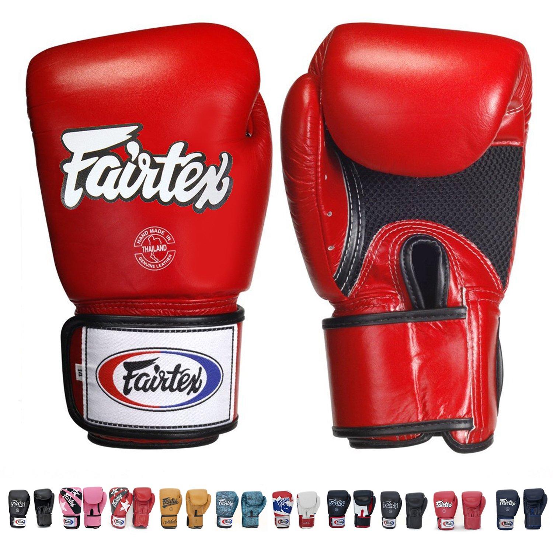 Fairtex Muay Thai guantes de boxeo. bgv1-br transpirable guantes. Color: Solid negro. Tamaño: 121416oz. Entrenamiento, guantes de boxeo para boxeo, Kick Boxing, MMA