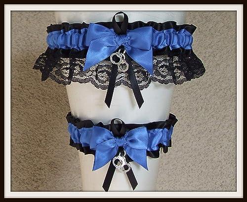 Police Department Ivory Lace Wedding Garter Police Wedding Garter Set Police Garter Police Officer Garter Police Bridal Garter Set