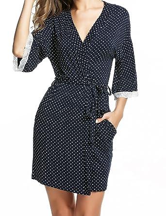 925a68e891 Ekouaer Kimono Robes Womens Comfy Nightwear Sleepwear Short Style (Navy  Dot