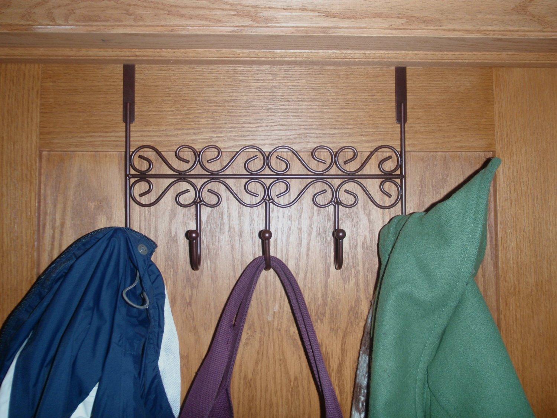 toallas marr/ón Viemode Perchero para puerta batas Puerta Organizador de Gabinete Ganchos Rack para abrigos 5 perchas sombreros