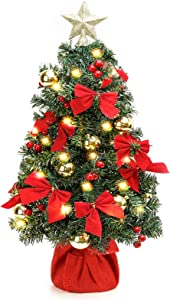 Homde 24inch Tabletop Christmas Tree Mini Artificial Christmas Tree with LED Lights & Ornament for Table Top Desk Holiday Decoration