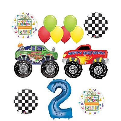 Mayflower Products Monster Truck Party Supplies 2nd Birthday Balloon Bouquet Decorations: Toys & Games
