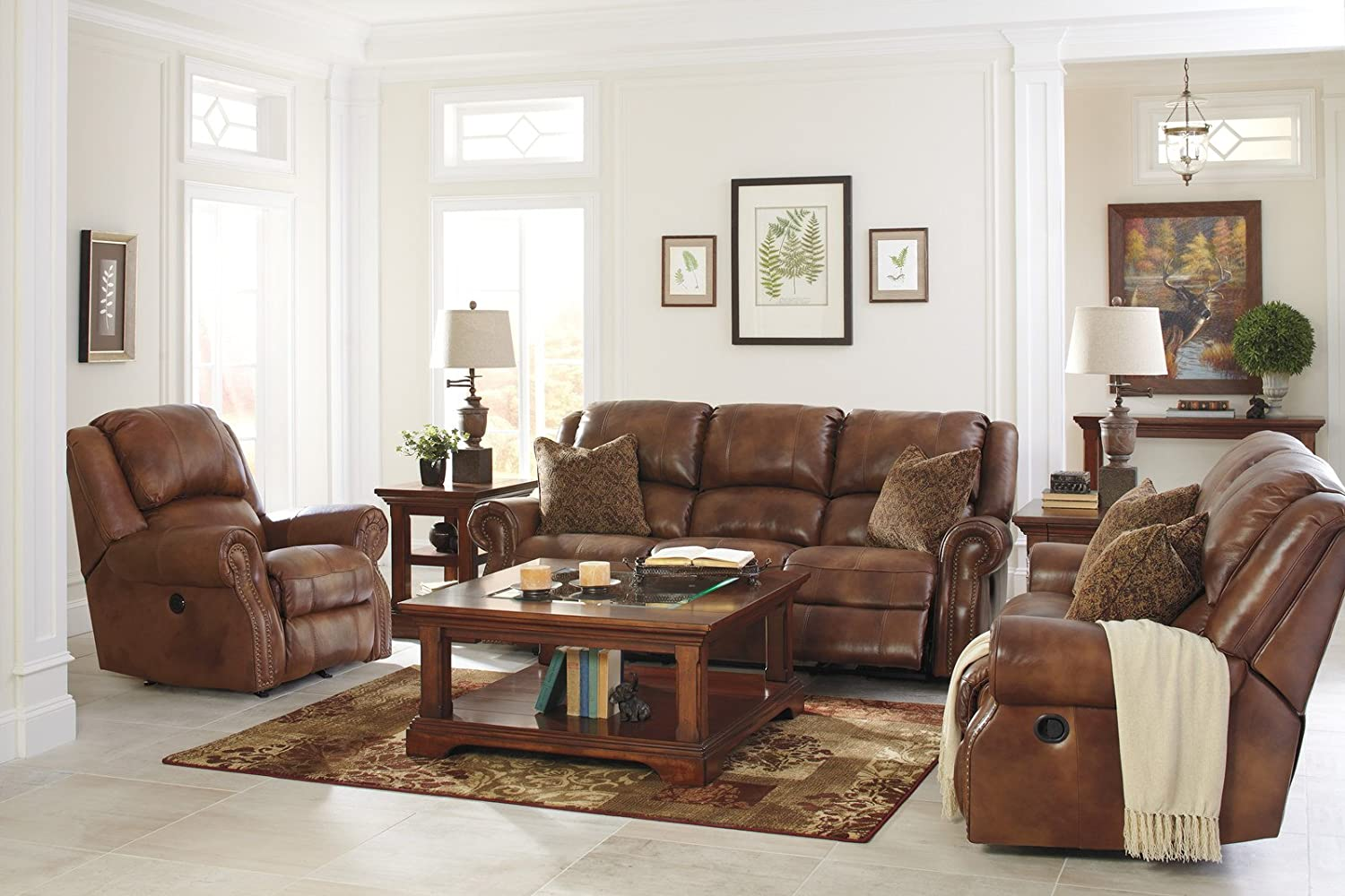 Amazon com  Ashley Furniture Signature Design   Walworth Recliner Chair    Manual Reclining   Auburn Brown  Kitchen   Dining. Amazon com  Ashley Furniture Signature Design   Walworth Recliner