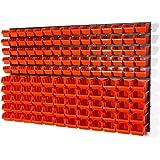 Lot de 141 elements d'étag?re murale 135 x bacs a bec orange