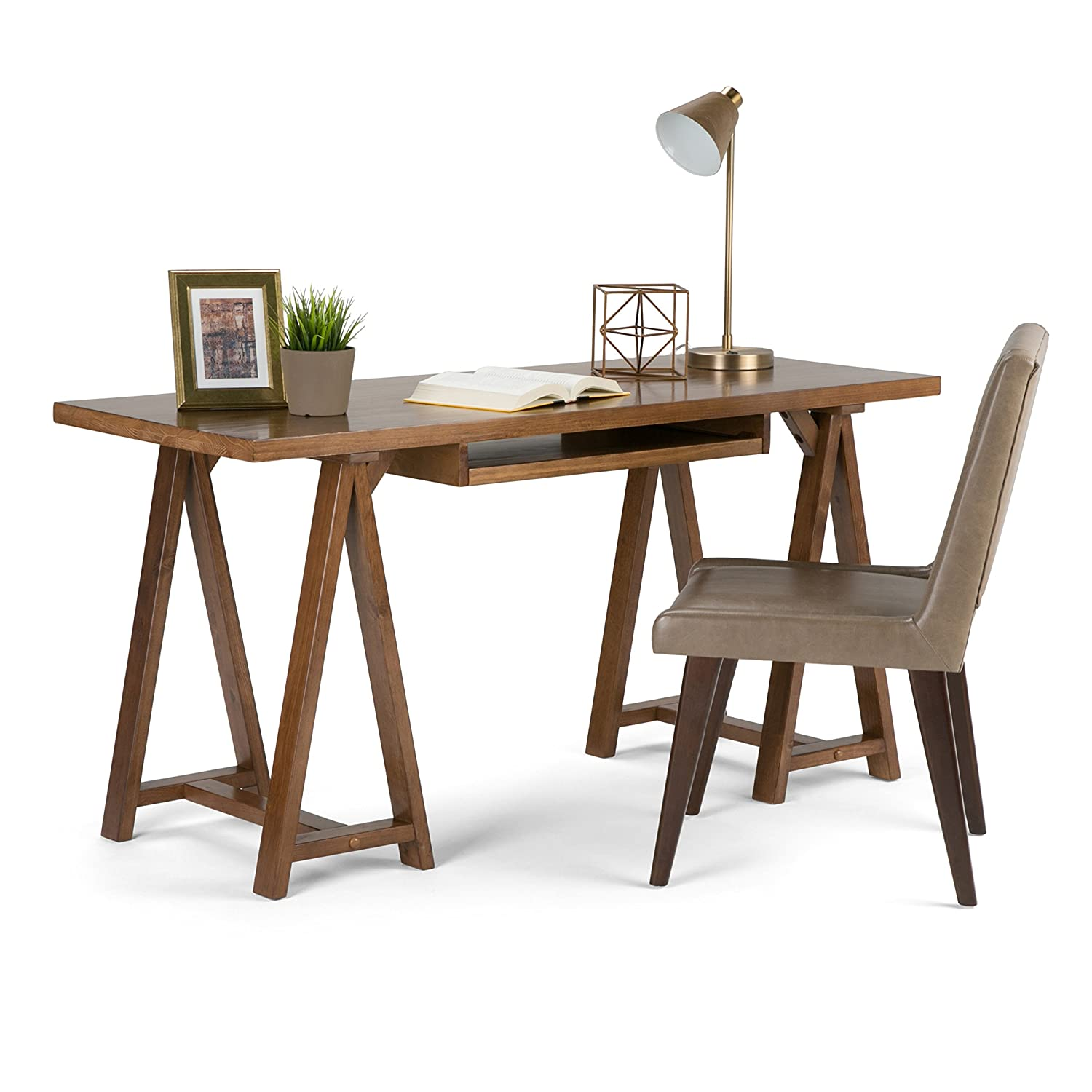 desk l kitchen monarch amazon dp dark specialties home ca shaped office look taupe reclaimed