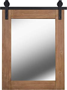 Kenroy Home Rustic Mirror w/ Wood Finish Frame and Black Metal Track ,40 Inch Height, 30 Inch Width, 1.5 Inch Ext. with Medium Wood Finish and Matte Black Metal