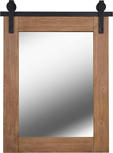 Kenroy Home Rustic Mirror w/ Wood Finish Frame and Black Metal Track ,40 Inch Height