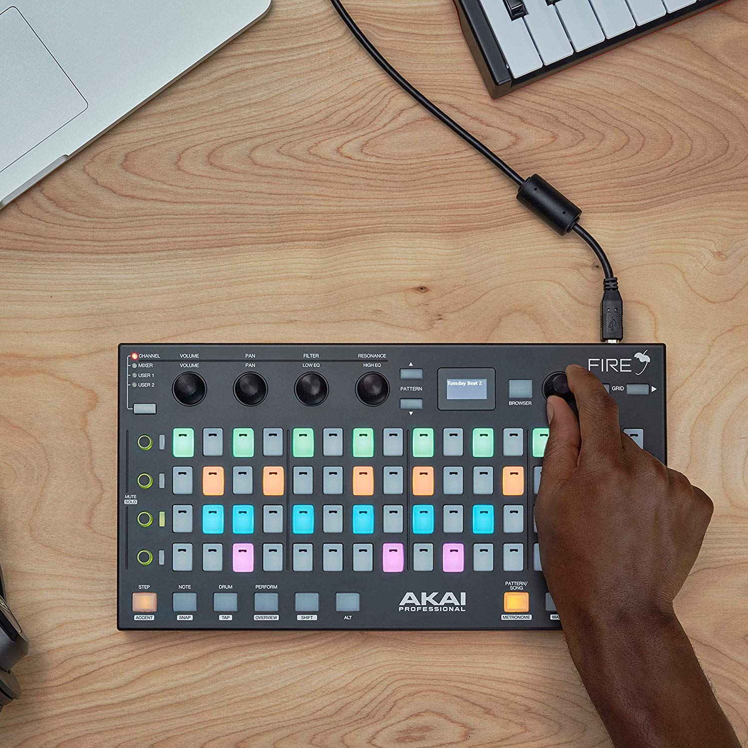 Akai Professional Fire | Performance Controller for FL Studio With 4 x 16 Velocity-Sensitive RGB Clip Matrix, OLED Display and FL Studio Fruity Fire Edition Included by Akai Professional (Image #3)