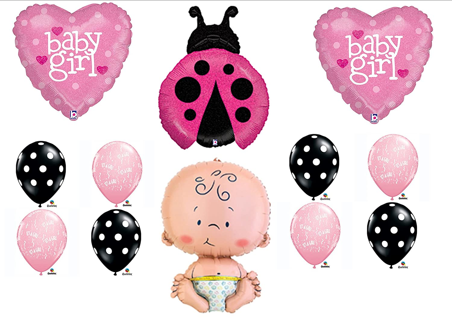 Charming Amazon.com: Pink Ladybug Baby Shower Itu0027s A Girl Balloon Kit Mylar Latex  Set Party Supplies: Toys U0026 Games