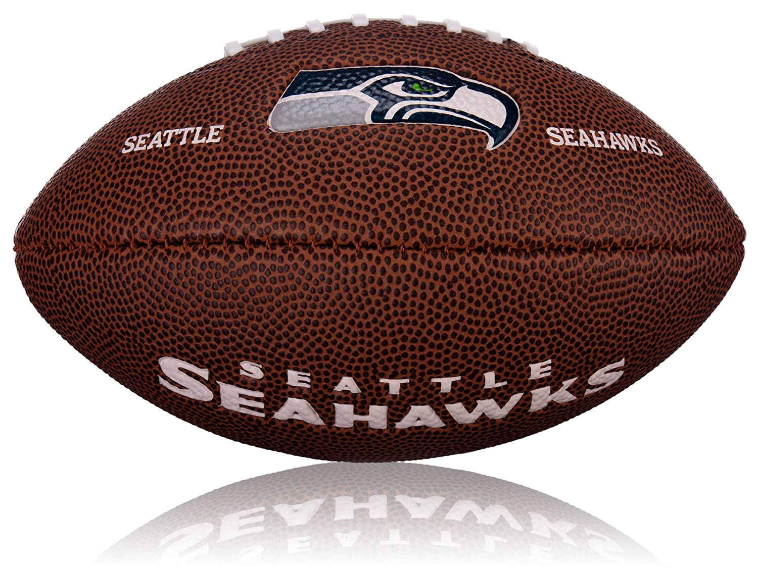 Wilson Football NFL Mini Seattle Seahawks Logo - Balón de fútbol americano (caucho), color marrón, talla 2 WL0206432042