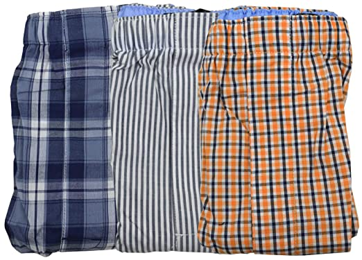 e979d330f0 Banana Republic Men's 3 Boxer Set Multi Print Cotton Boxers Navy Blue  Orange Plaid Striped (
