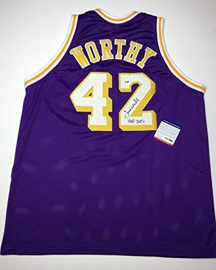 849cb682cd2 James Worthy Signed Los Angeles Lakers Basketball Jersey