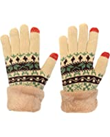 KMystic Women's Thick Snowflake Knitted Warm Gloves