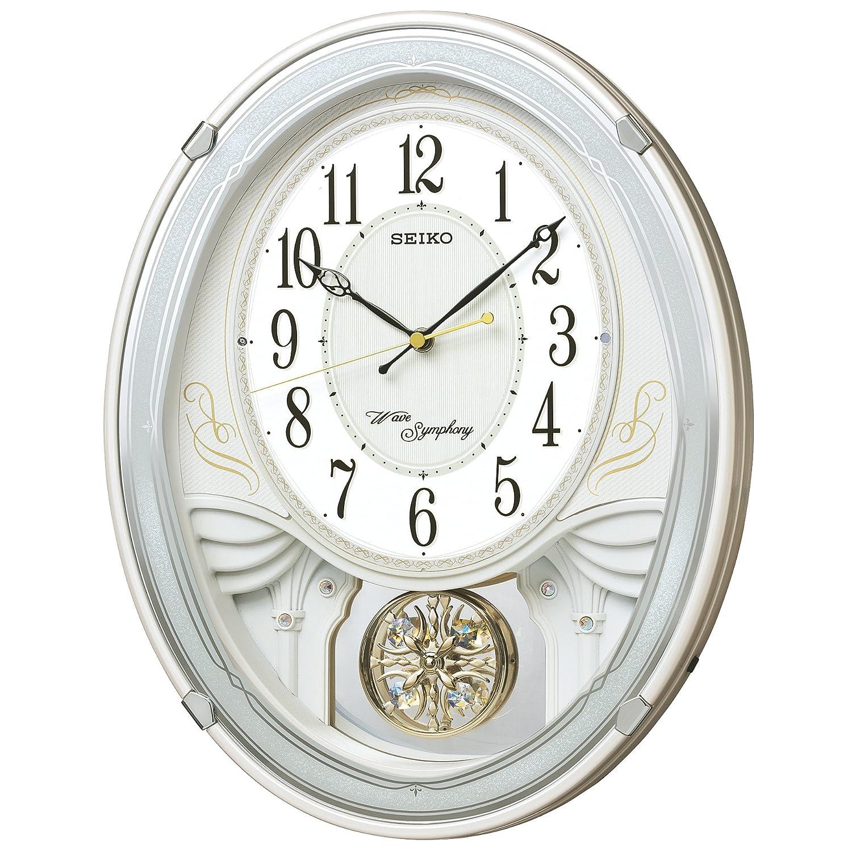 セイコー クロック 掛け時計 電波 アナログ トリプルセレクション メロディ 飾り振り子 白 パール AM258W SEIKO B00DON2L6Q