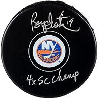 "$59 » Bryan Trottier New York Islanders Autographed Hockey Puck with""4x SC Champ"" Inscription - Autographed NHL Pucks"