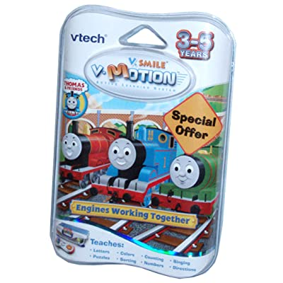 VTech V.Smile V.Motion Active Learning System Thomas and Friends Series Smartridge - Engines Working Together That Teaches Letters, Colors, Counting, Singing, Puzzles, Sorting, Numbers and Directions: Toys & Games