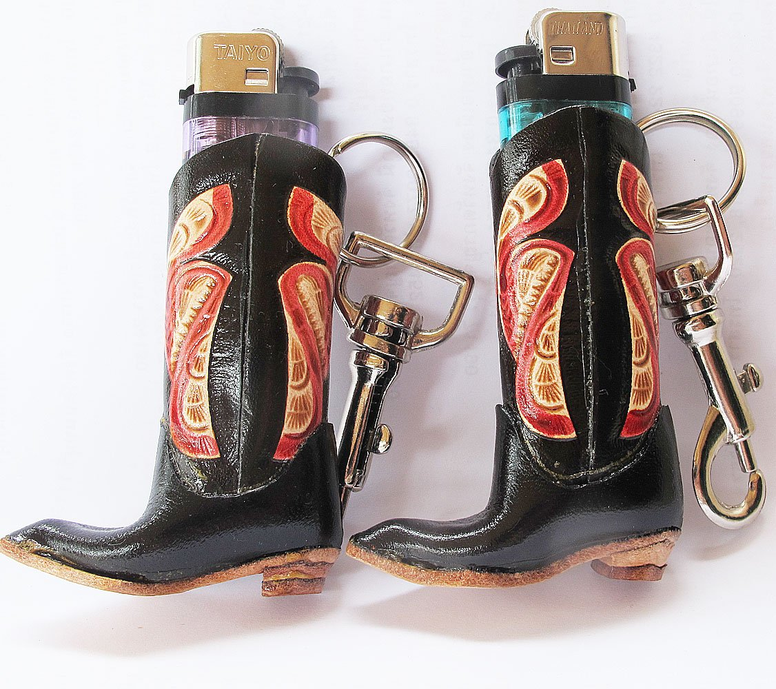Danai Presents..BUDDY COOL 2 PCS GENEUINE LEATHER LIGHTER CASE IN BOOT STYLES