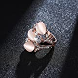Everrich 18k Rose Gold Plated Pink Opal Rose Gold
