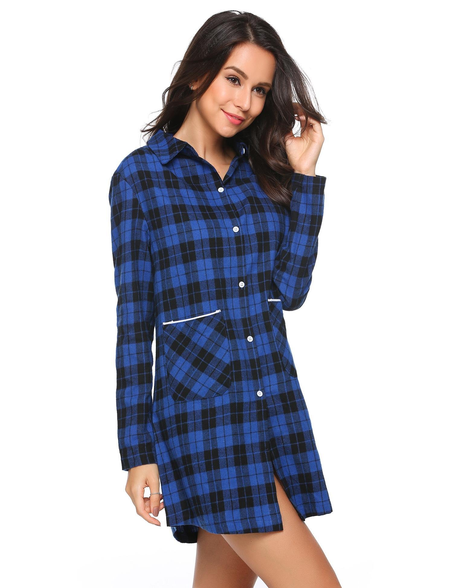 Ekouaer Womens Cotton Nightgown Button Down Plaid Boyfriend Shirt Sleep Dress (Blue, XL)