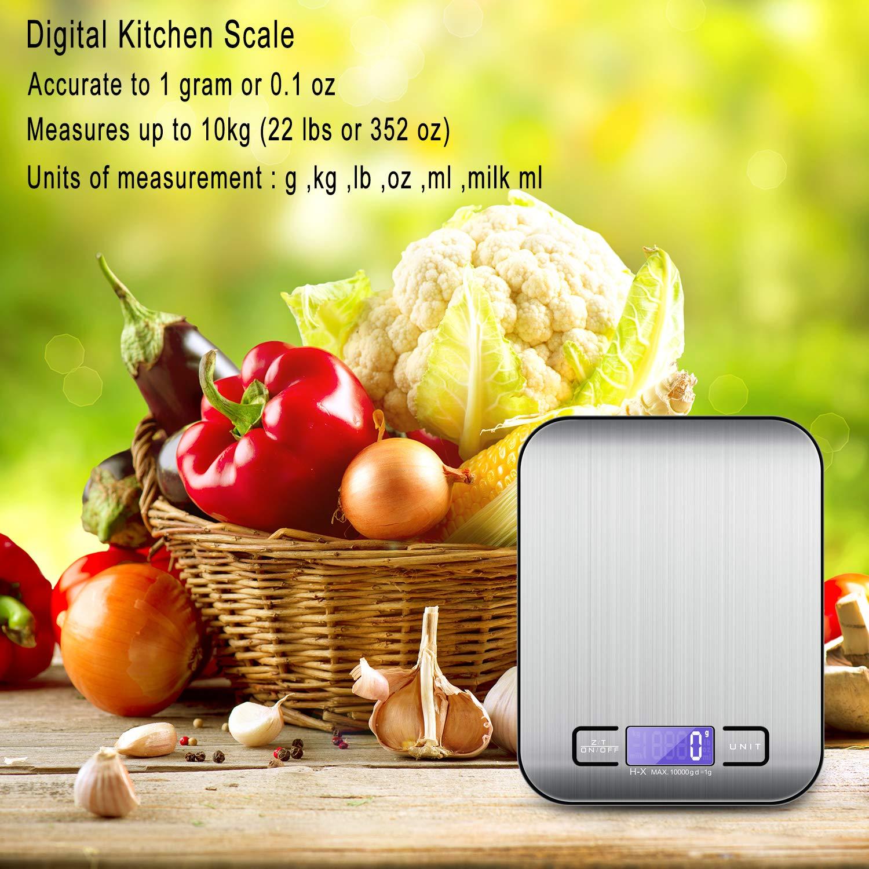 MOSUO Báscula Cocina Digital con Cable USB, Bascula Precision Cocina 10kg/1g Peso de Cocina Digital, Balanza de Alimentos Acero Inoxidable con Gran Pantalla ...