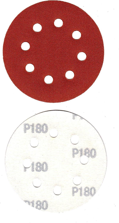 Schleifscheiben 8-Loch 6 K/örnungen K40│K60│K80│K120│K180│K240 je 10 Multi Schleifpapier /Ø115mm Exzenter P-D-W/® 180 Bl