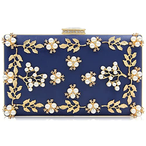 9e826b979aacd PARADOX (LABEL) Women Clutches Pearls Evening Bag Clutch Purse -Navy Blue   Amazon.in  Shoes   Handbags