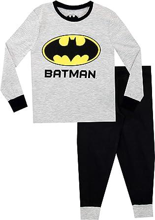 DC Comics Pijamas de Manga Larga para niños Batman Ajuste Ceñido