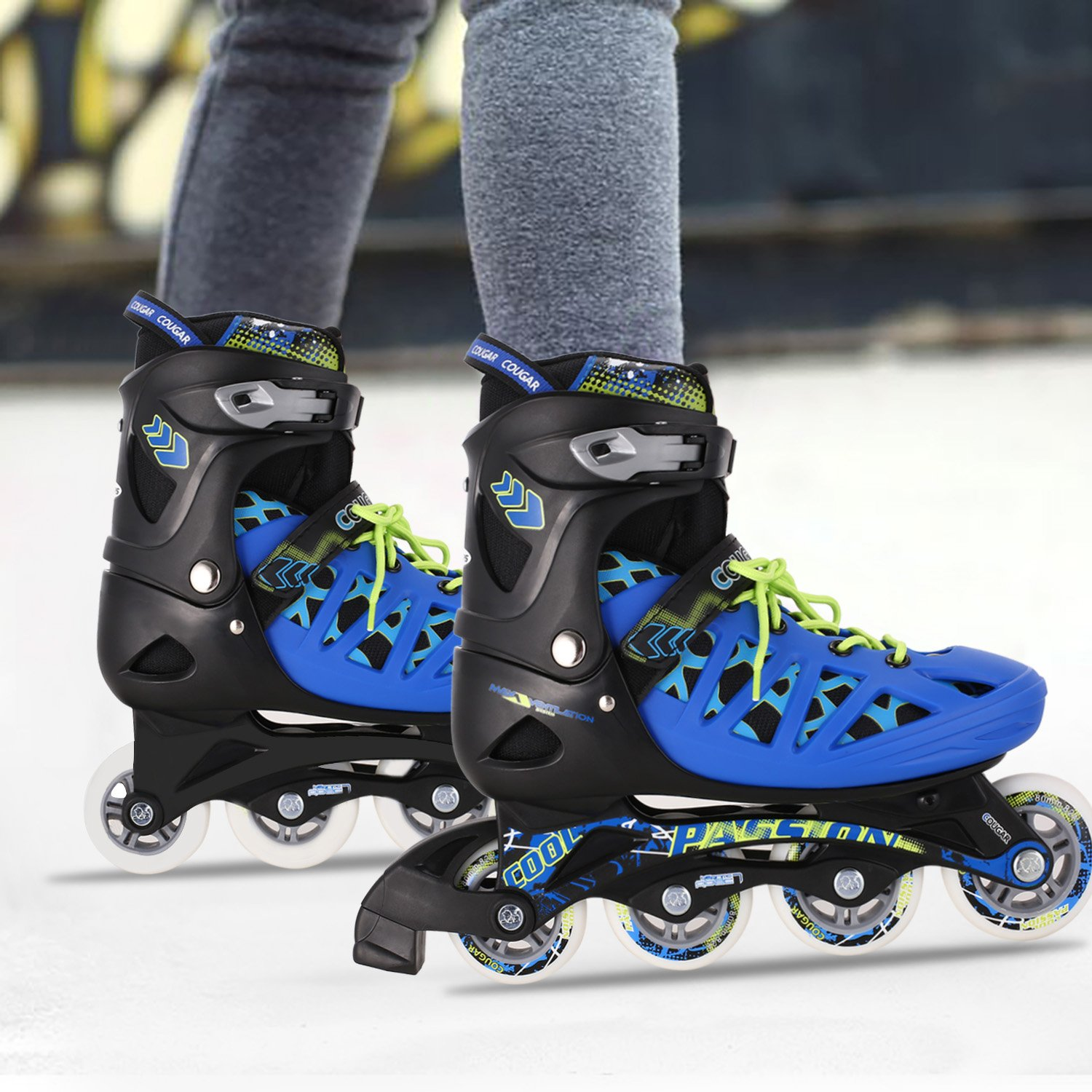 Anfan Adjustable Inline Skates, Safe and Durable Training Rollerblades for Teens/Adults, Integral Steel Plastic Roller Skate (US STOCK) (Blue, US 8-10) by Anfan