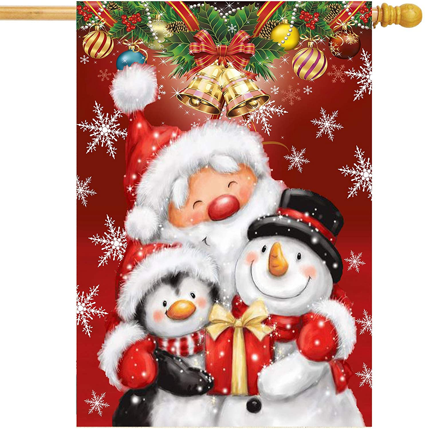 Christmas Santa Claus Snowman Garden Flag 28x40 Double Sided Penguin Snowflake Bell House Yard Flags Welcome Winter Outdoor Indoor Banner for Party Home Merry Christmas Decorations