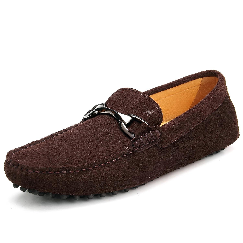 Shenduo Zapatos Hombre Primavera Verano - Mocasines de Cuero con Hebilla Elegante Mocasines para Hombre D7162 44 EU|Marrón