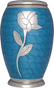 Funeral Urn by Liliane - Cremation Urn for Human or Pet Ashes - Hand Made in Brass & Hand Engraved - Display Urn at Home or in Niche at Columbarium - Talia Model (Blue Enamel with Silver Flower,Adult)