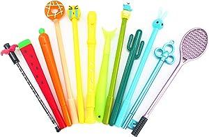 SKKSTATIONERY 12 PCS Gel Ink Pen Set, Cute Cartoon Favor, Different Kinds Assorted