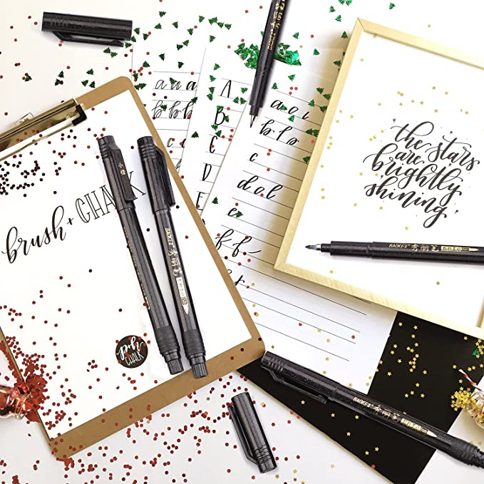 Hand Lettering Pens, Calligraphy Pens Brush Markers Set, Refillable - 4  Size(6 Pack), for Beginners Writing, Art Drawings, Water Color  Illustrations,