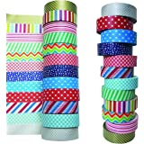 iCrafts Planet Washi Tape Set Of 12 Rolls - Decorative Tapes For Scrapbooking, Masking, DIY Crafts And More - Bright Colors- FREE 50 Washi Tape Ideas Ebook- Rare Collection Of Colors/Designs