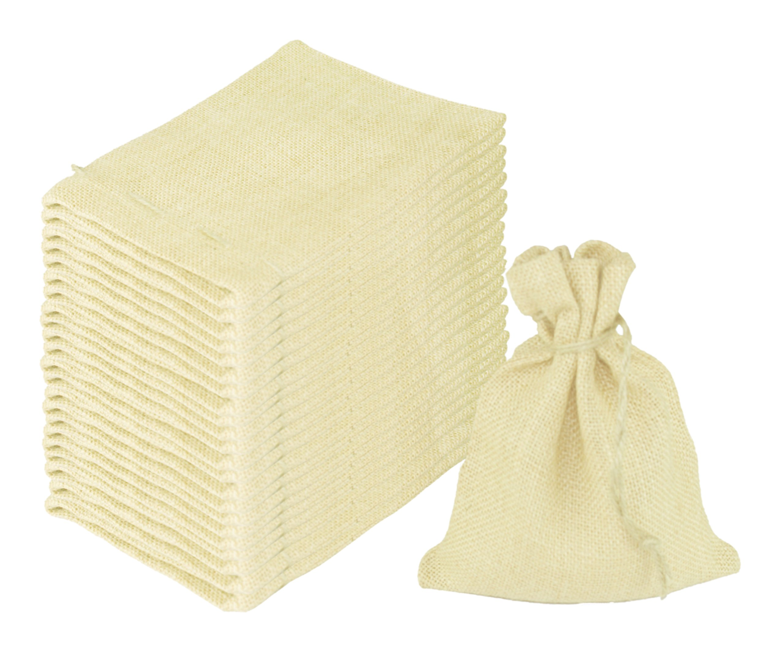 Cotton Craft - 24 Pack - Jute Burlap Gift Bags - Ivory - 6x8 - Versatile - Sturdy - Rustic - Durable Jewelry Pouches Sacks for Wedding Party Shower Birthday.