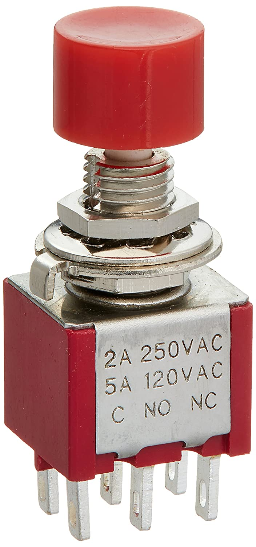 Waymeduo 5 x Interruptor Boton Pulsador Momentaneo SPST Redondo CA 6A//125V 3A//250V