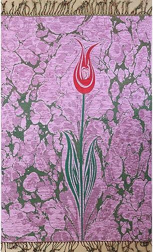 Islamic Prayer Mat – Chenille Muslim Namaz Sajjadah Janamaz Thin Turkish Tulip Ebru Pink
