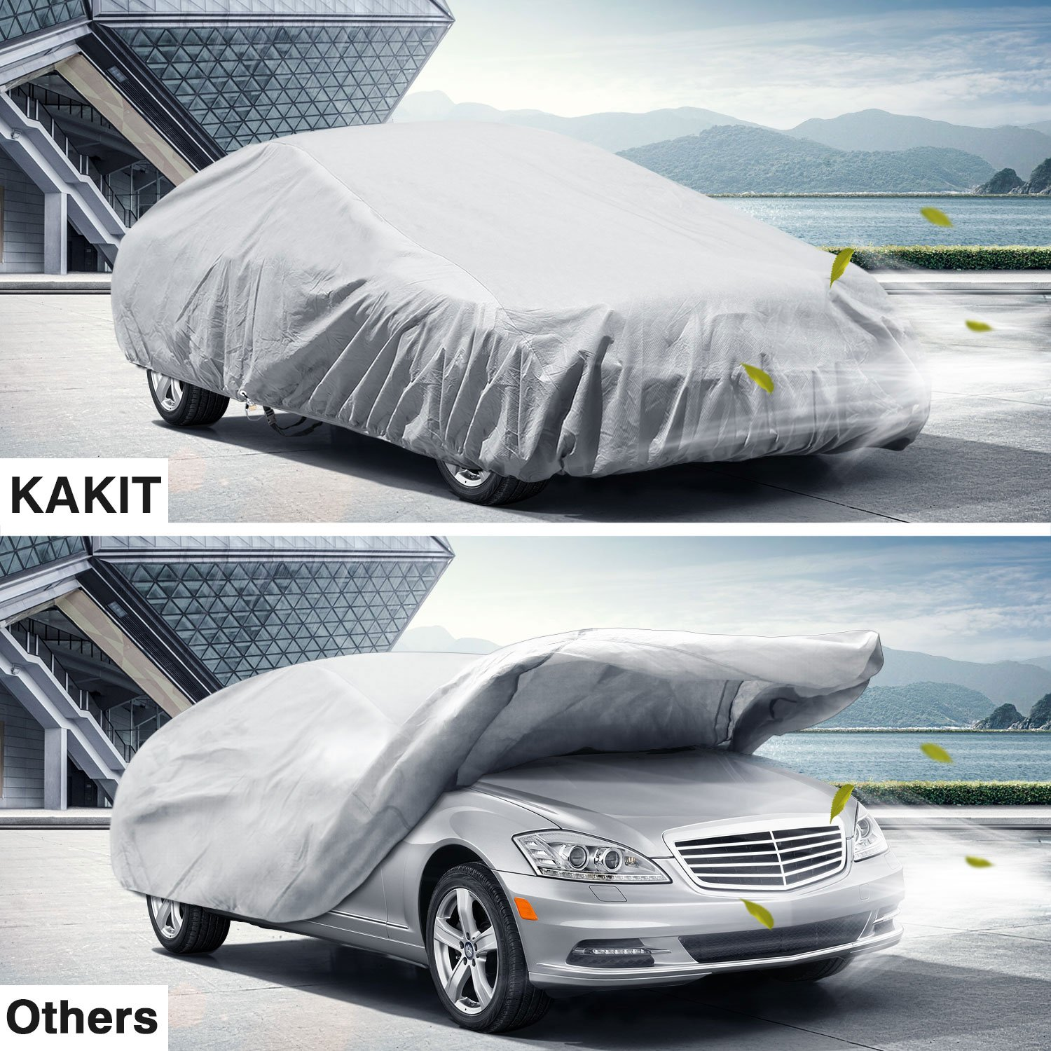 KAKIT All Weather Car Cover 6 Layers Breathable Sedan Cover 100/% Windproof Dustproof UV Protection Waterproof Glove Fit for Sedan up to 185