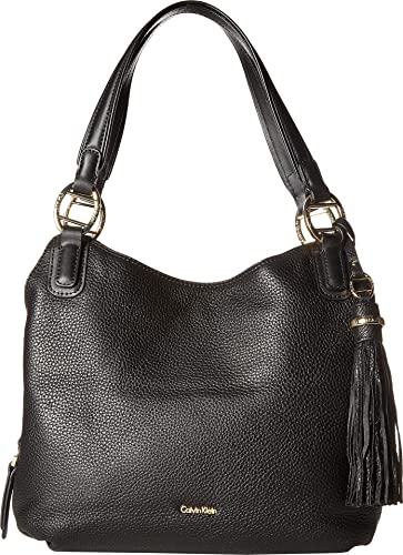 0194a839160 Amazon.com: Calvin Klein Women's Holly Pebble Leather Hobo Black/Gold One  Size: Shoes