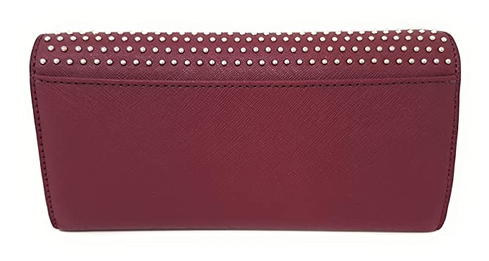 7715bc8bb20b Michael Kors Jet Set MIcro Stud Saffiano Leather Convertible Chain Wallet  (Plum)