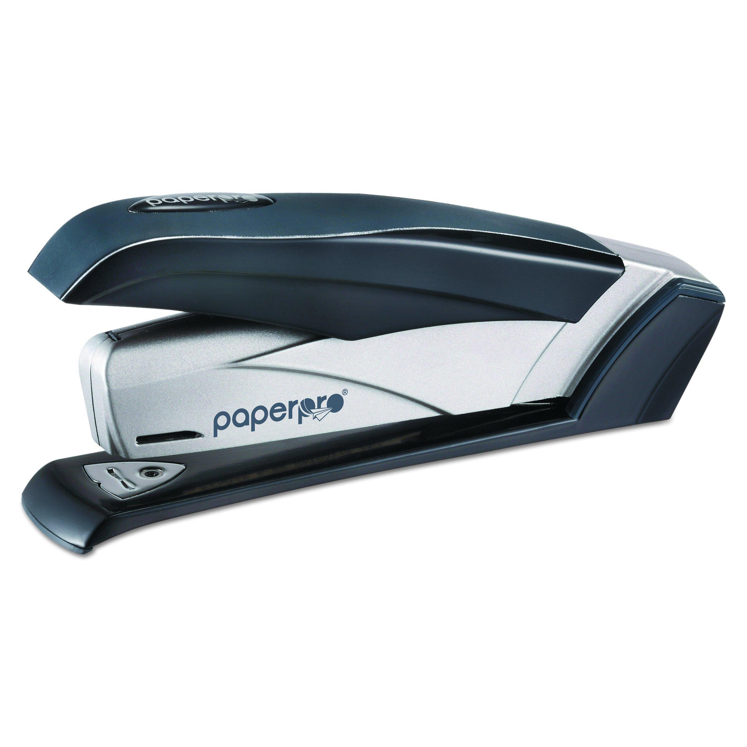 PaperPro inFLUENCE+28 Executive Stapler - One Finger, No Effort, Spring Powered Stapler - Black/Silver (1460)