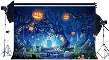 7/×5ft Background Wall Halloween Horrible Pumpkin Haunted House Photo Studio Backdrop Background Backdrop Vinyl Party Background Carnival Wall Background for Video Decoration Background Wall Phot