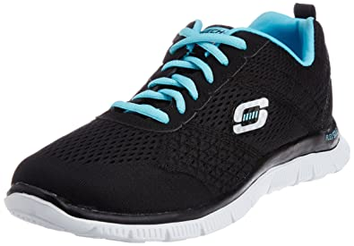 00dada19e0c2 Skechers Sport Women s Flex Appeal Black Blue 6 B - Medium