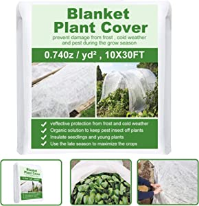 Plant Covers Freeze Protection 10ft x 30ft Non-Woven Fabric Plant Blankets Reusable Floating Row Cover for Winter Frost Cold Sun Pest Protection (10 x 30 FT)