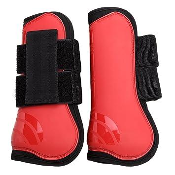 HOGAR AMO Botas para Caballos PU + Neopreno Mostrar Viaje Cepillado Botas Abiertas Set Caballo Tendón Pata Protección L/22.5cm TqK7rYpQ