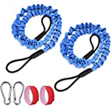 FIRINER Paddle Leash Set 2 Pack Stretchable Kayak Paddle Leash Tether with D-Shape Carabiner Bungee Leash Strap 1ft for…
