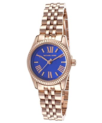 046ac4da761e Image Unavailable. Image not available for. Color  Michael Kors MK3272  Women s Lexington Petite Rose Golden Blue Dial Watch